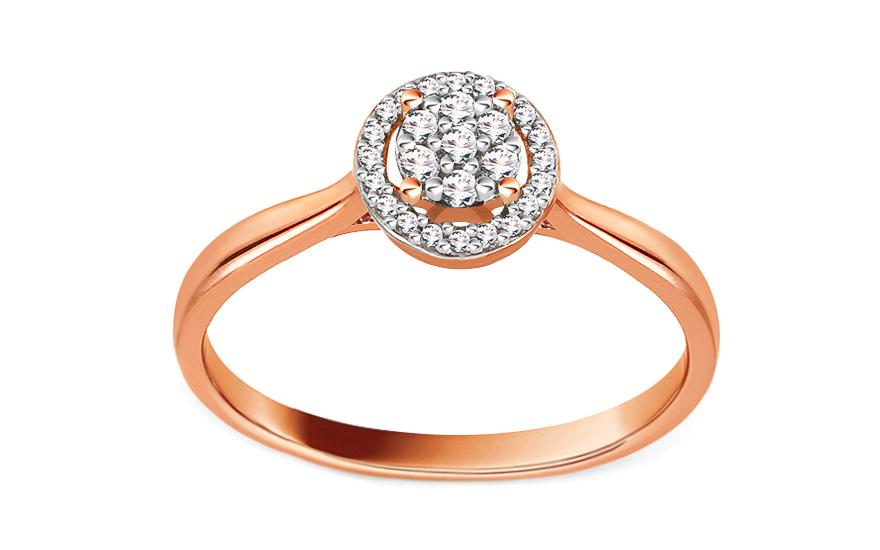 Zásnubný prsteň z ružového zlata s diamantmi 0.100 ct Peona 280238e6fef