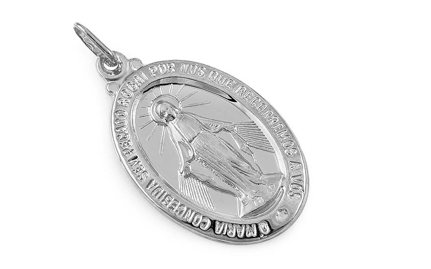 b7f73dde4 Zázračná medaila Nepoškvrnenej Panny Márie z bieleho zlata, pre ženy ...