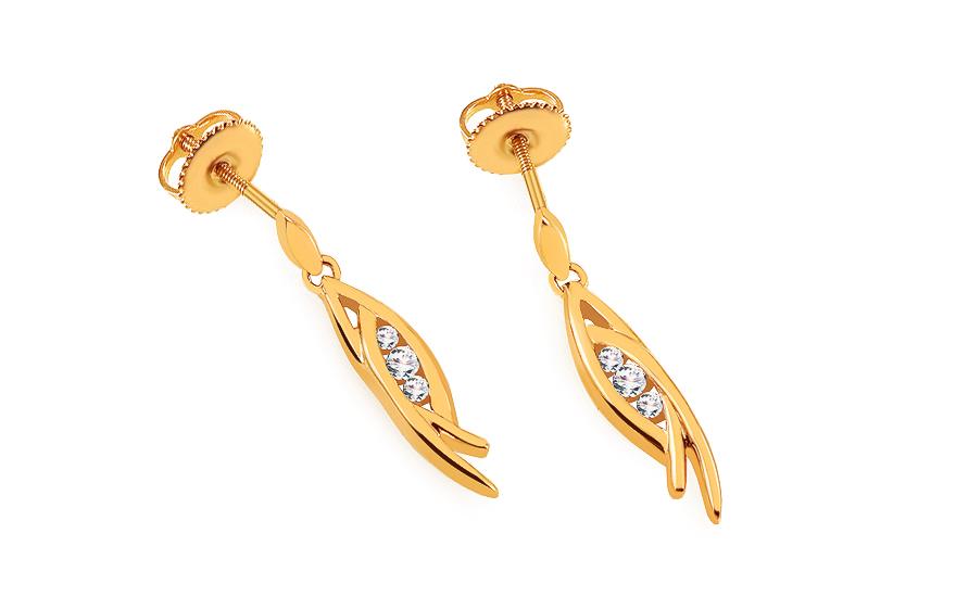 33f6175aa Zlaté briliantové náušnice 0.110 ct, pre ženy (KU286YN)   iZlato.sk