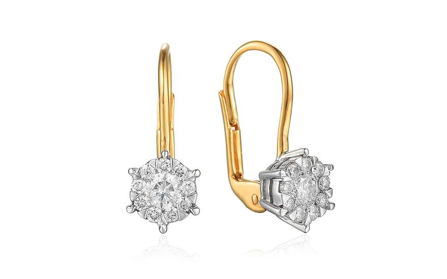 6b9ca828f Zlaté briliantové náušnice 0.500 ct, pre ženy (IZBR649N)   iZlato.sk