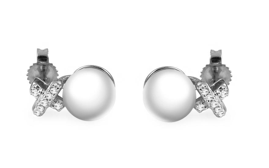 c7d590b84 Zlaté diamantové náušnice s perlami, pre ženy (KU459AN)   iZlato.sk