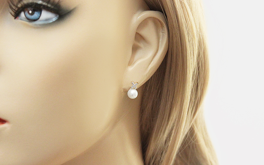 c98a815cb Zlaté diamantové náušnice s perlami, pre ženy (KU459N)   iZlato.sk