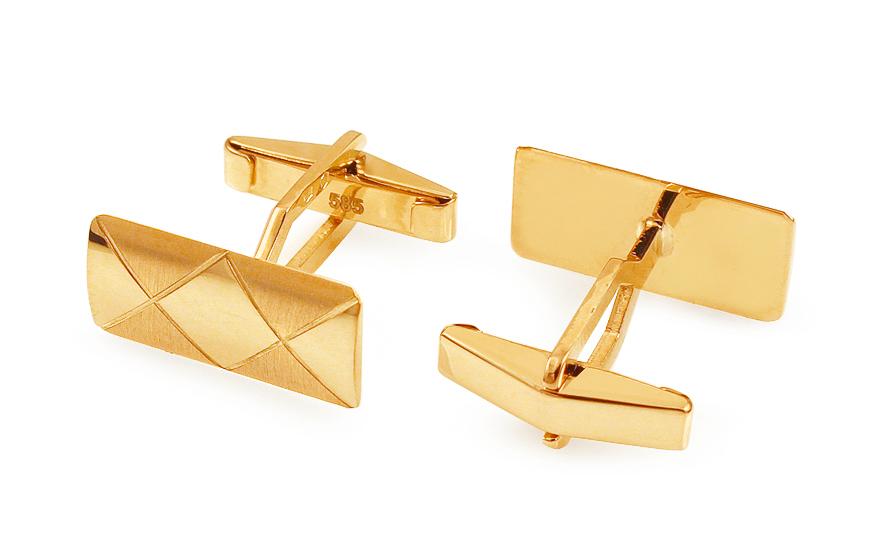 2252224b38b1 Zlaté manžetové gombíky s kosoštvorcovým vzorom - IZ11502