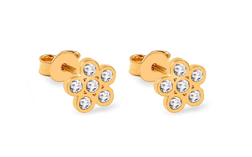 846861e5e Zlaté napichovacie náušnice kvietky so zirkónmi, pre ženy (IZ13445 ...