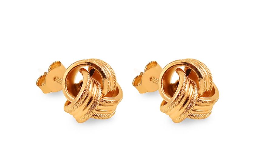 Zlaté napichovacie náušnice s gravírom uzlíky fcc895f471d