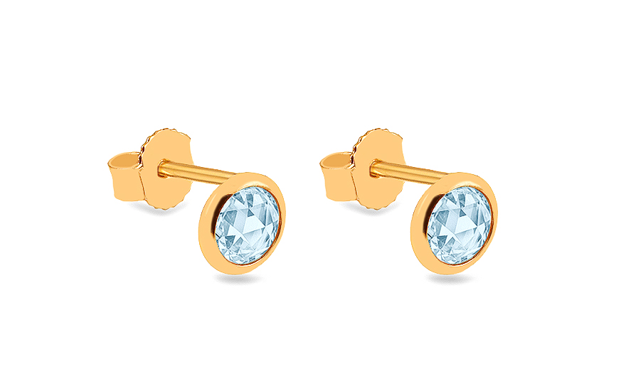 315b20ea6 Zlaté napichovacie náušnice s modrými kameňmi, pre ženy (IZ16750M ...