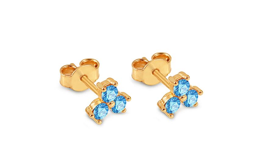 b3d833ca0 Zlaté napichovacie náušnice s modrými zirkónmi kvietky, pre ženy ...