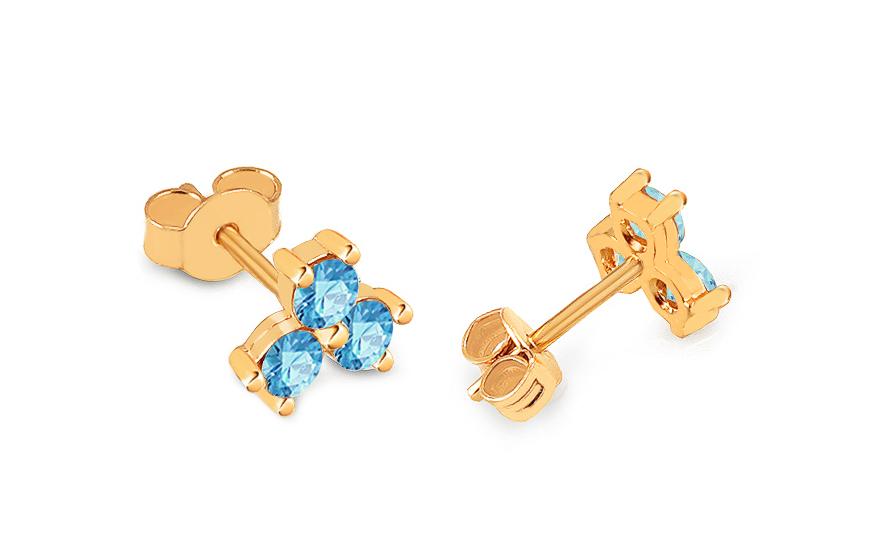 9612dafcf Zlaté napichovacie náušnice s modrými zirkónmi Kvietky, pre ženy ...