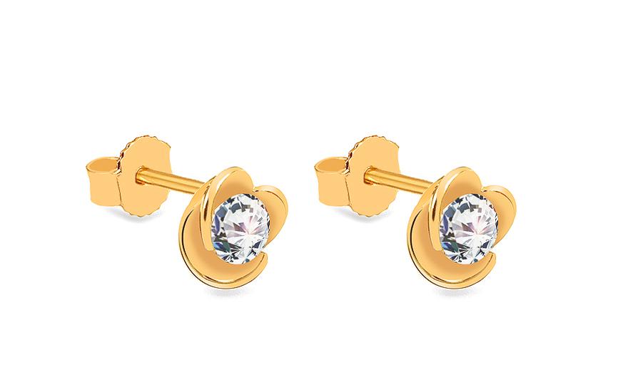 24fe140a2 Zlaté napichovacie náušnice so zirkónmi Kvety, pre ženy (IZ18641 ...