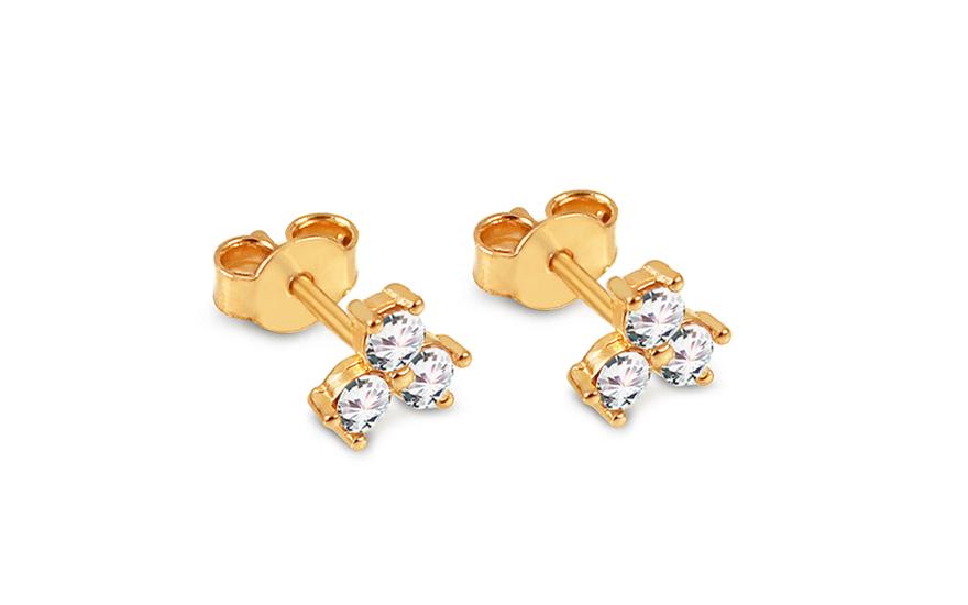 cc5d18a92 Zlaté napichovacie náušnice so zirkónmi kvietky, pre ženy (IZ12437 ...