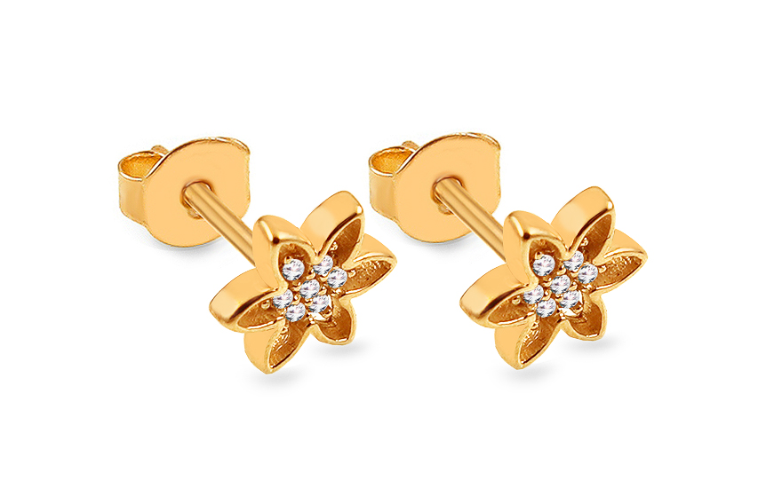 d10913559 Zlaté napichovacie náušnice so zirkónmi Kvietky, pre ženy (IZ15908 ...
