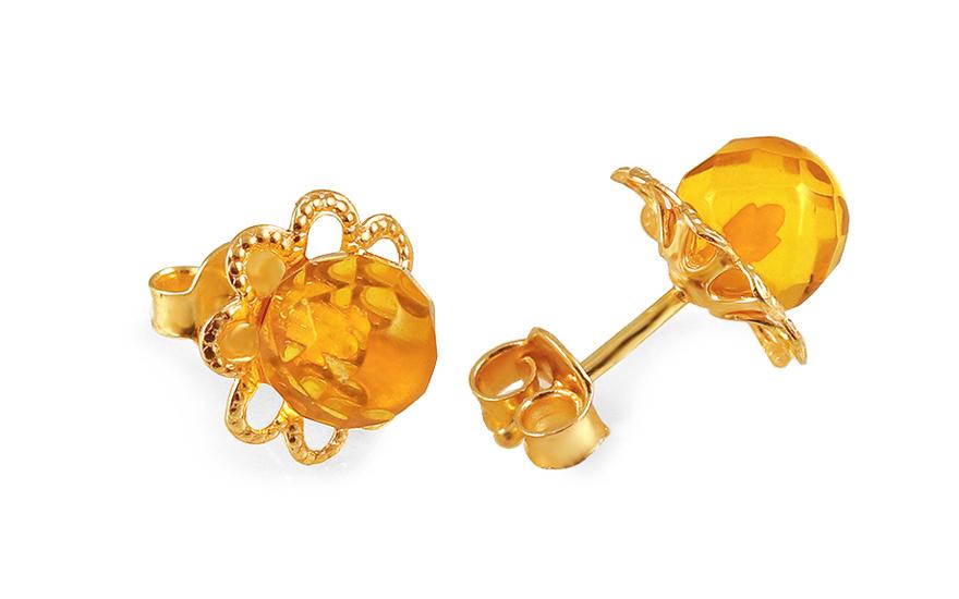 02bda12fe Zlaté náušnice napichovacie s jantárom kvet, pre ženy (IZ5706Y ...