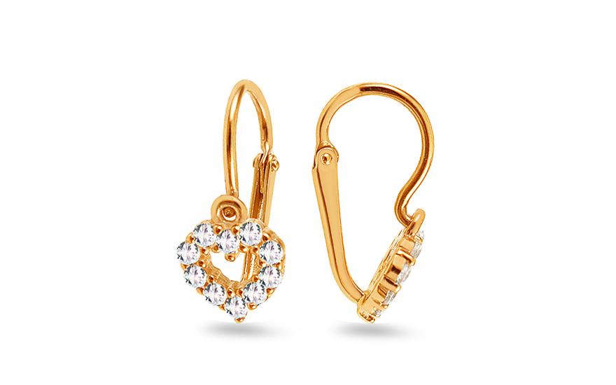 96d966873 Zlaté náušnice pre bábätko srdce so zirkónom, pre deti (1-239-0168Z ...