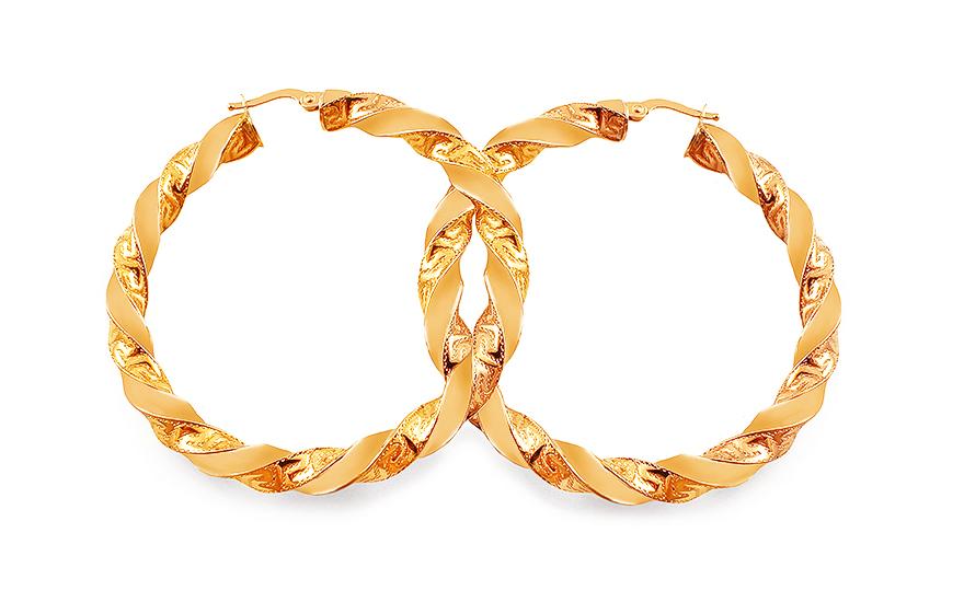 Zlaté náušnice s antickým vzorom točené kruhy 5 cm 5adc6dfae57