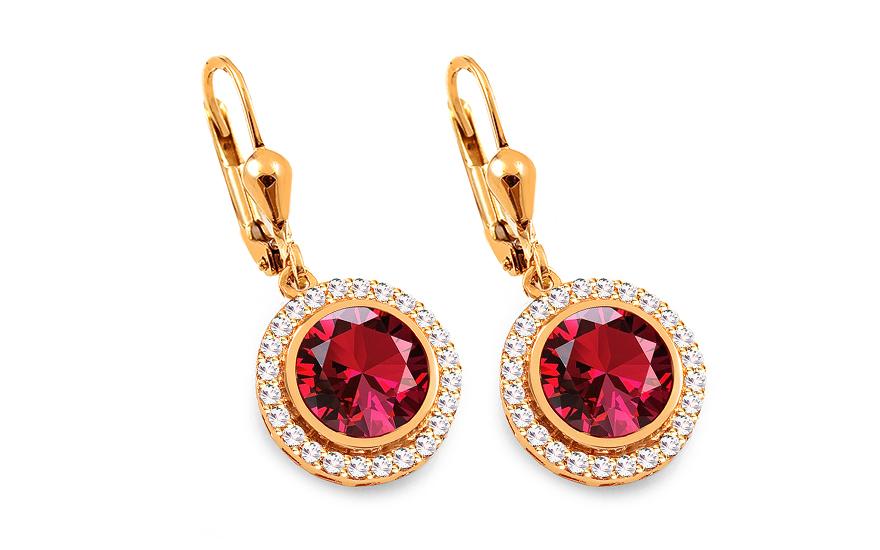 06a9938c7 Zlaté náušnice s červenými a čírymi zirkónmi, pre ženy (IZ16450N ...
