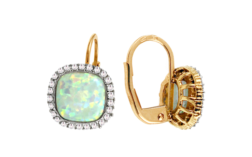 e5c47ab13 Zlaté náušnice s opálom a zirkónmi Kiana, pre ženy (IZ11028N ...