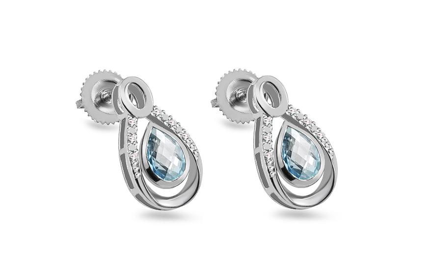 eca223389 Zlaté náušnice s topásom a diamantmi, pre ženy (KU470BTN) | iZlato.sk