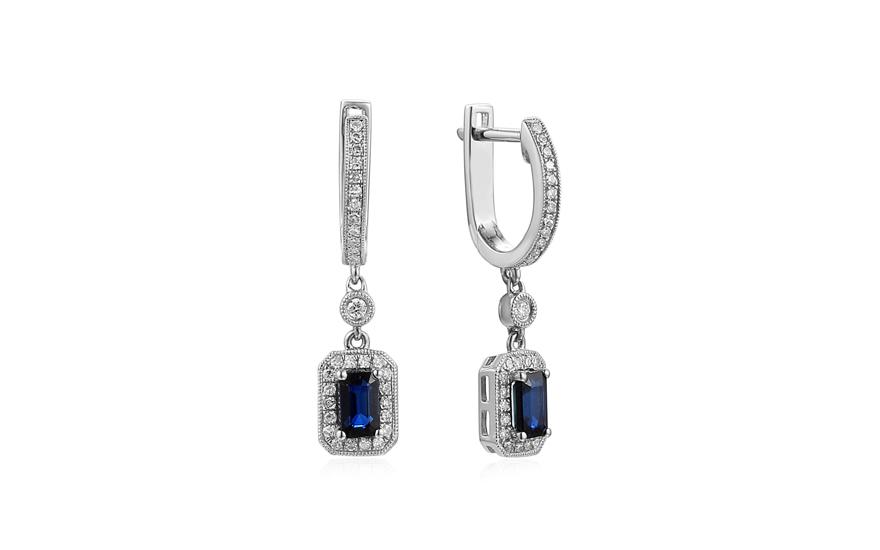 535f2cb1d Zlaté náušnice so zafírmi a diamantmi, pre ženy (IZBR201N)   iZlato.sk