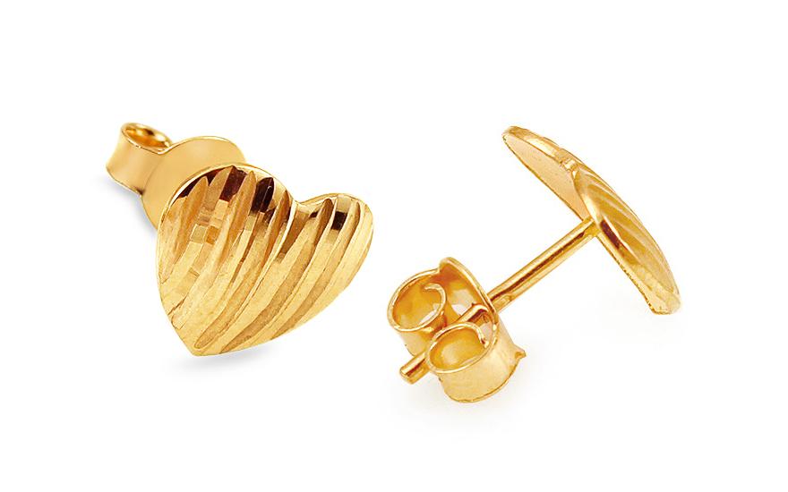 Zlaté náušnice srdiečka gravírom Leia de12c43bad7
