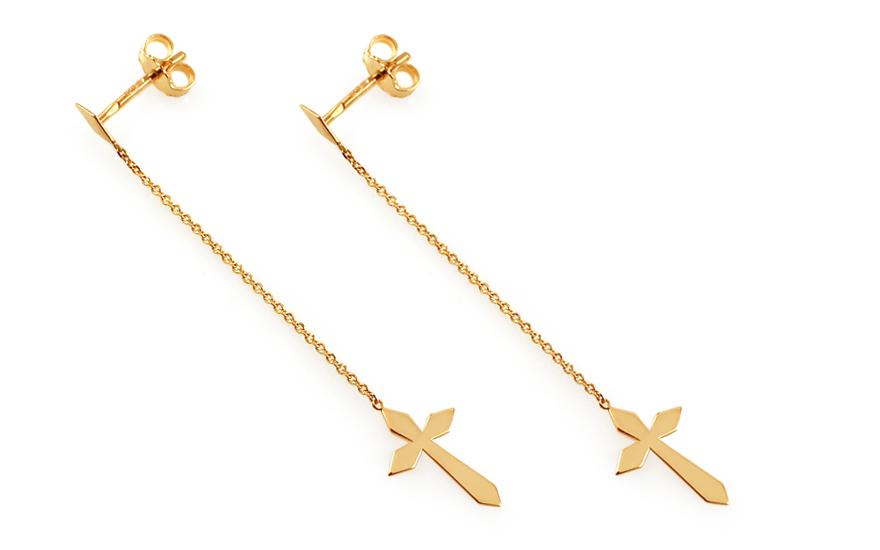 Zlaté retiazkové náušnice s krížikmi 4d4f56f16ed