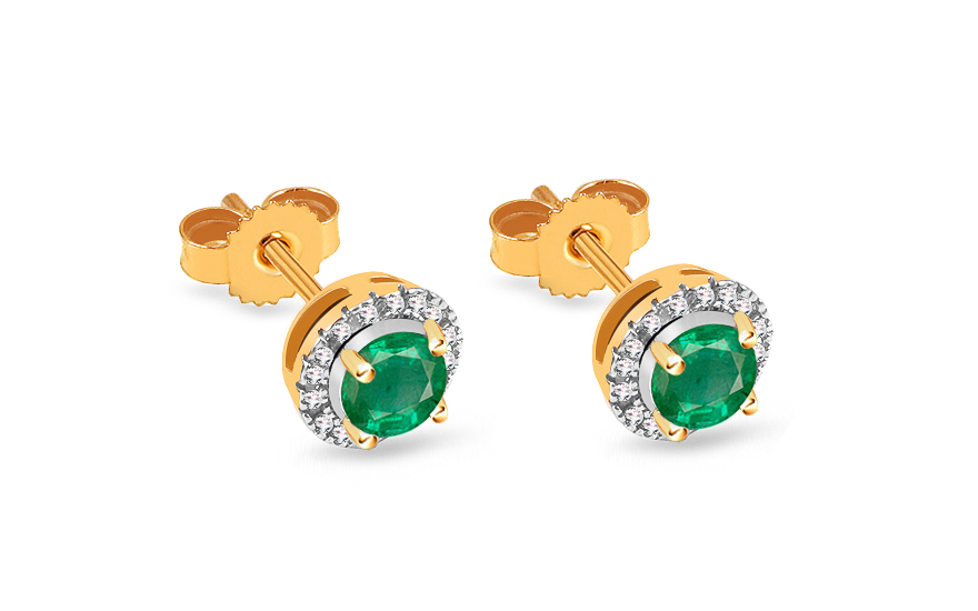 82a9550cf89 Zlaté smaragdové náušnice s briliantmi 0.060 ct, pre ženy (KU728EMN ...