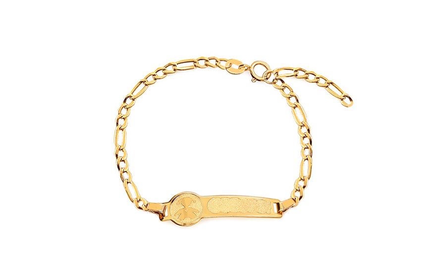 799119ea4 Zlatý detský náramok s platničkou na gravírovanie a dievčatkom - IZ17031D
