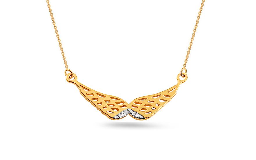 b6254461c Zlatý diamantový náhrdelník 0.010 ct Anjelské krídla, pre ženy ...