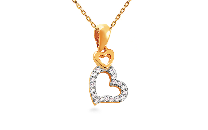 1bf5f5be3 Zlatý diamantový prívesok 0.050 ct Srdiečka, pre ženy (KU999 ...