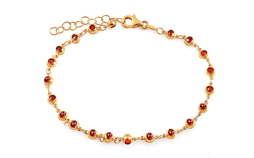 26bacdb98 Zlatý guľôčkový náramok s červenými zirkónmi, pre ženy (IZ15330C ...
