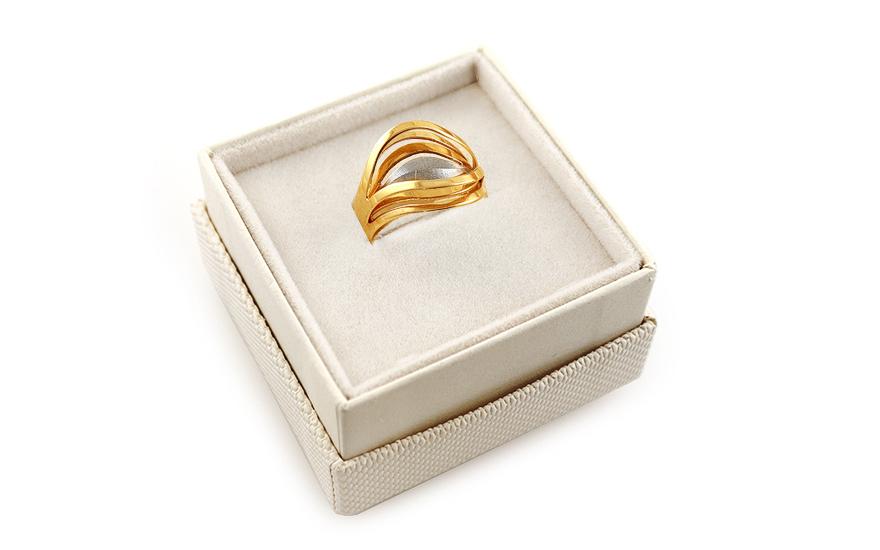 1de564e9f Zlatý kombinovaný dámsky prsteň s gravírovaním, pre ženy (IZ5079 ...