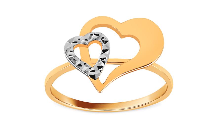 10269b381 Zlatý kombinovaný dámsky prsteň so srdiečkami, pre ženy (IZ8606 ...