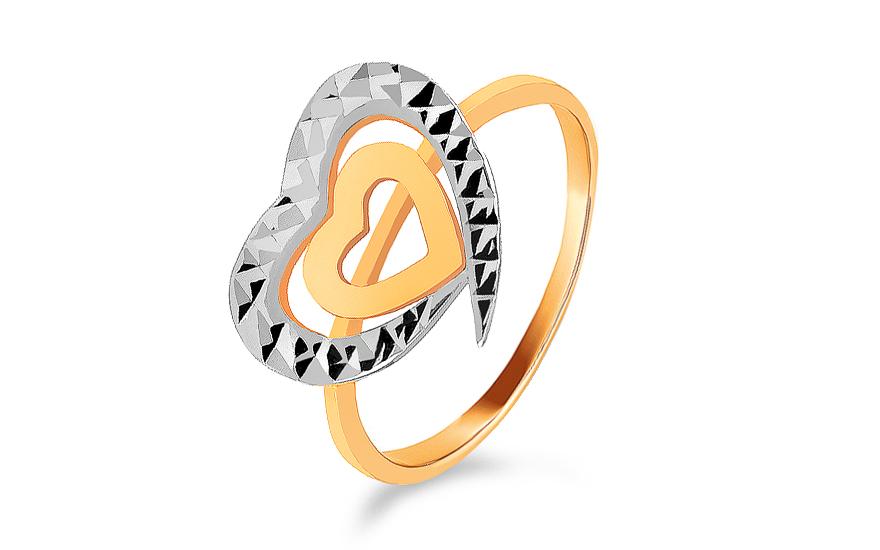 a6e427d6c Zlatý kombinovaný dámsky prsteň so srdiečkami, pre ženy (IZ8607 ...