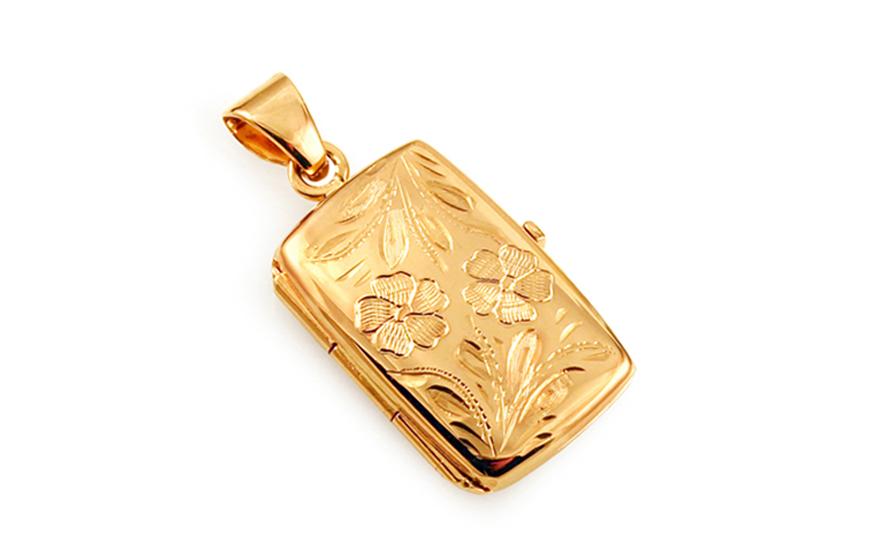 Zlatý medailón na fotku s gravírovaným kvetinovým vzorom 60fd4842a4f