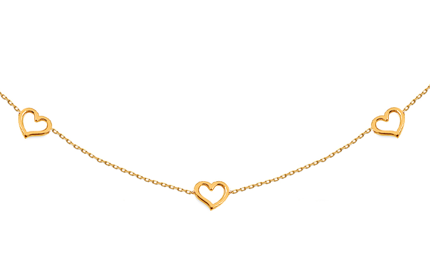 Zlatý náhrdelník Choker so srdiečkami 1a4941aad4e