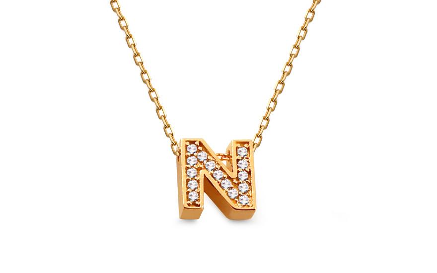Zlatý náhrdelník s písmenom N a zirkónmi 03fa2c5b085