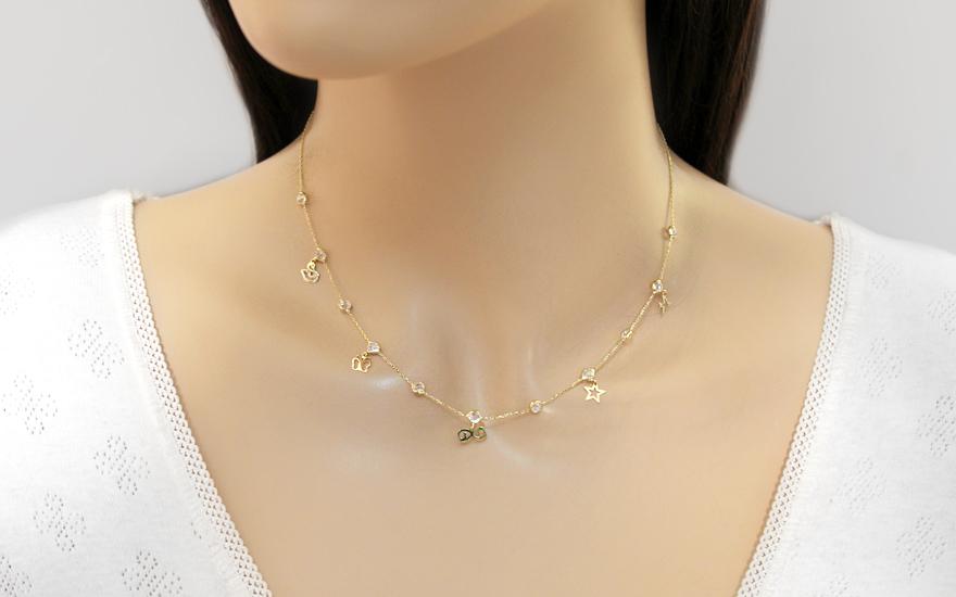 6ad2aaf9d Zlatý náhrdelník s príveskami a zirkónmi Neith 2, pre ženy (IZ12519 ...