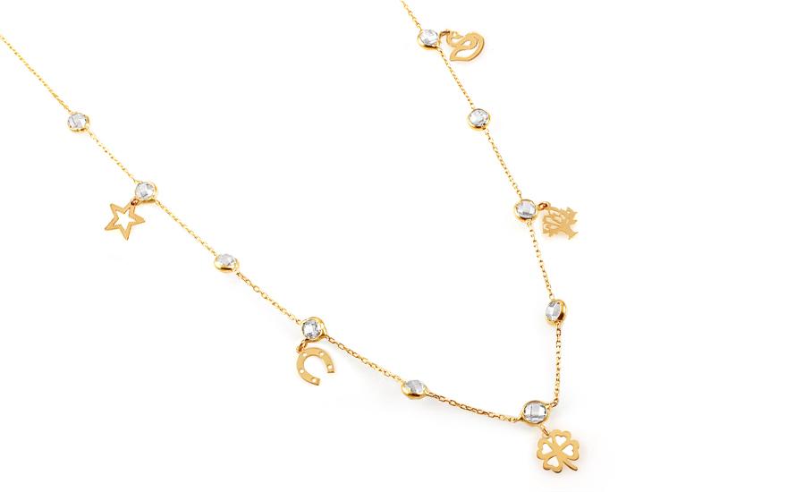 c222af5bc Zlatý náhrdelník s príveskami a zirkónmi Neith 4, pre ženy (IZ12517 ...