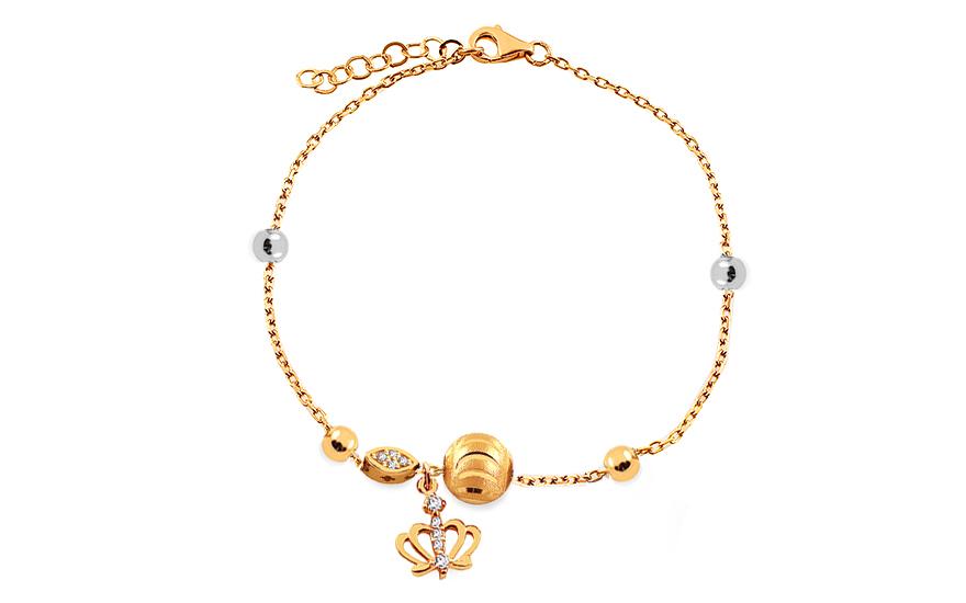 2251be2b3 Zlatý náramok s guľôčkami a korunkou Palmyra, pre ženy (IZ17271 ...