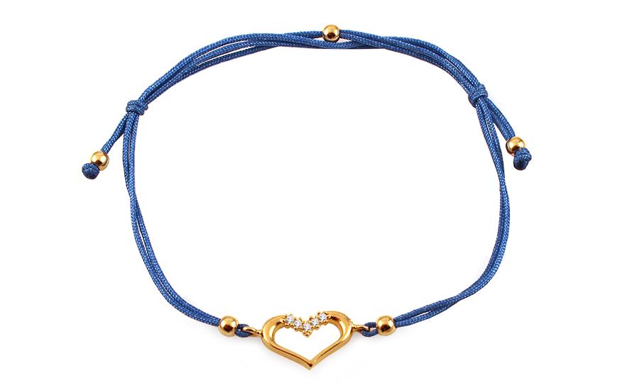 a09006c77 Zlatý náramok s modrou šnúrkou srdce so zirkónmi, pre ženy (IZ12418 ...