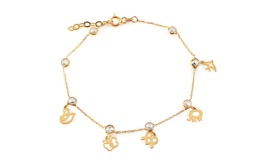 ff64017af Zlatý náramok s príveskami a zirkónmi Neith 10, pre ženy (IZ12521 ...