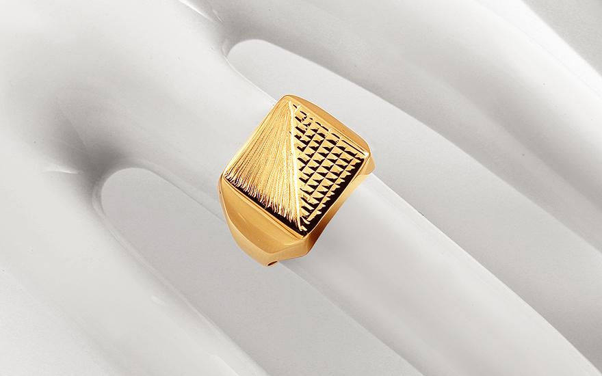00af366ff Zlatý pánsky pečatný prsteň s gravírom a matovaním, pre mužov ...