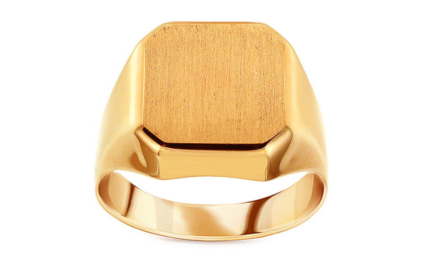 662fcdb5c Zlatý pánsky pečatný prsteň s matovaním, pre mužov (IZ15881) | iZlato.sk