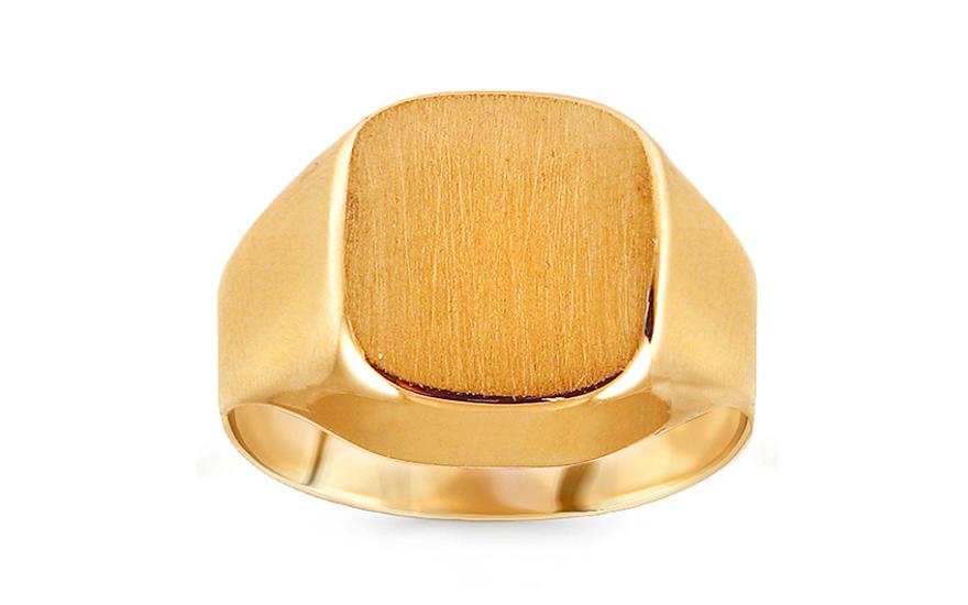 6a33ede6e Zlatý pánsky pečatný prsteň s matovaním, pre mužov (IZ15777) | iZlato.sk