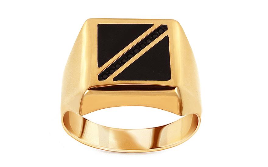 c70b28490f5 Zlatý pánsky prsteň s ónyxom a čiernymi zirkónmi, pre mužov (IZ15767 ...