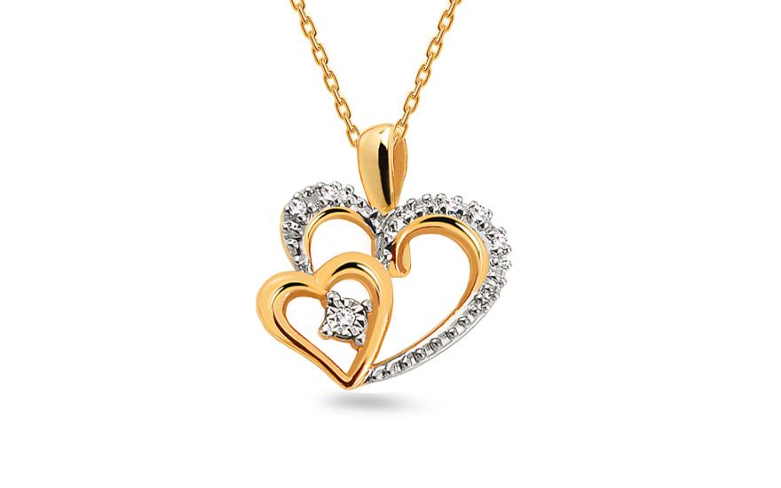 1021c2562 Zlatý prívesok dvojfarebný s diamantmi 0.030 ct srdcia, pre ženy ...