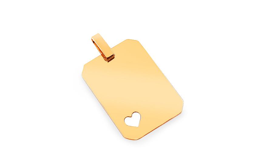 Zlatý prívesok na gravírovanie Platnička so srdiečkom 8c390f32177