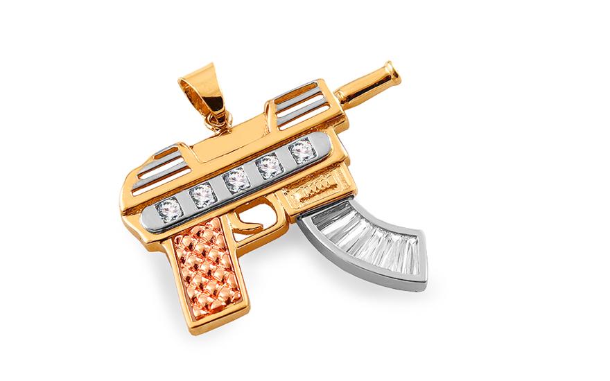 Zlatý prívesok Samopal ... 3756eeccddf