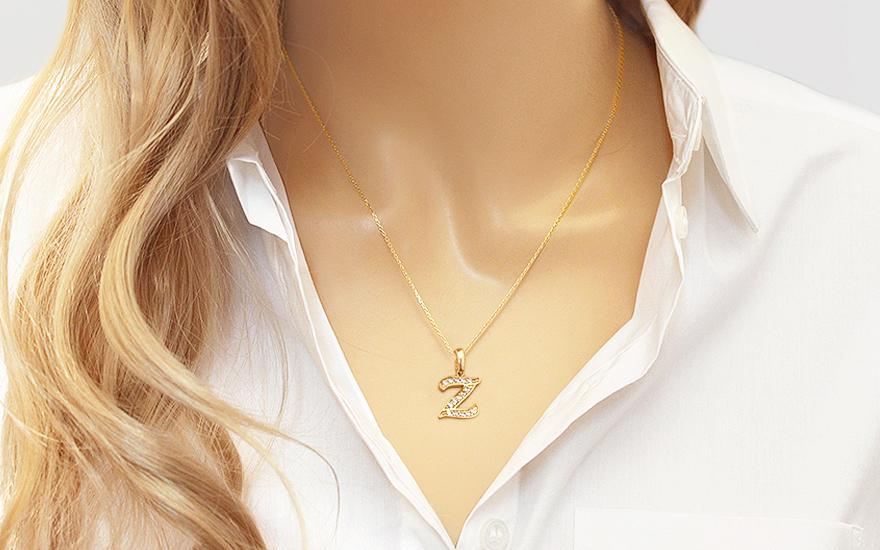 03ae6bbbd Zlatý prívesok so zirkónmi písmeno Z, pre ženy (IZ18236) | iZlato.sk