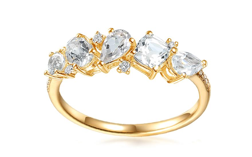 c5b98fb2604 Zlatý prsteň s bielymi topásmi a diamantmi 0.060 ct Darjana 3
