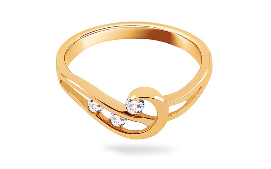 8911b0bb2 Zlatý prsteň s kamienkami, pre ženy (IZ6092) | iZlato.sk